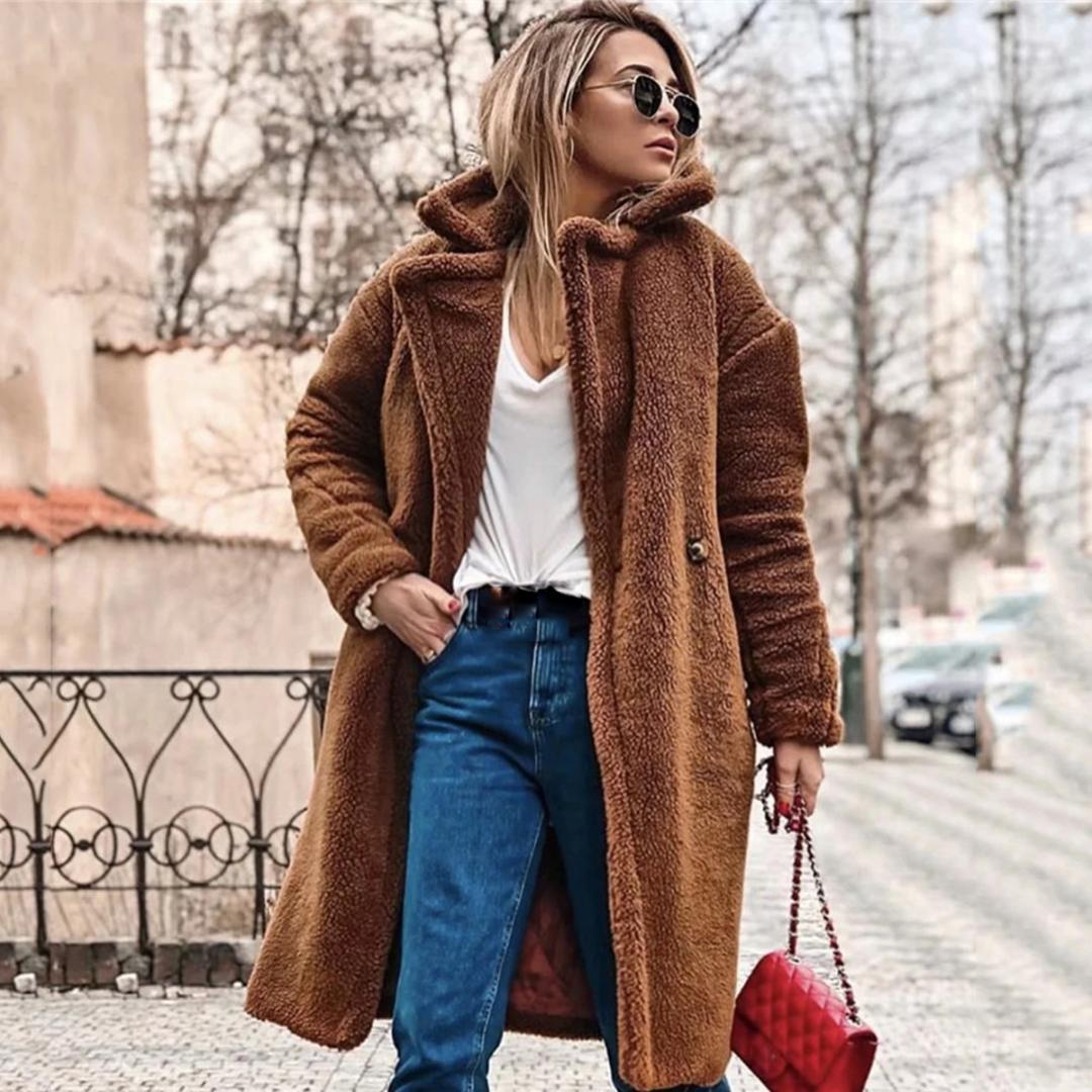 Teddy Jas We.Jastie 2018 New Teddy Coat Faux Fur Long Jacket Coats Oversize Loose