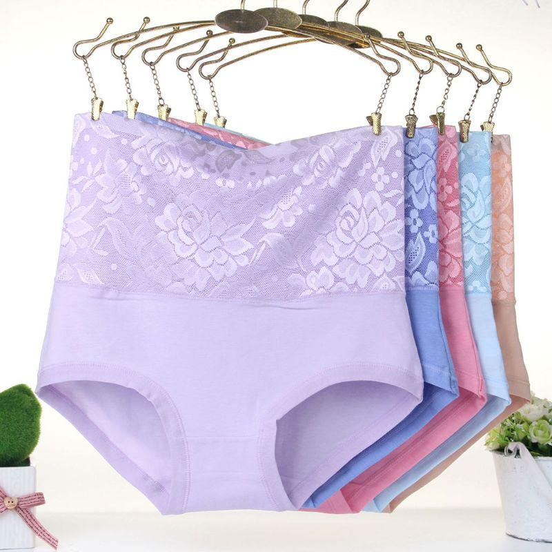 44c61726f8e 2019 Womens Plus Size Cotton Underwear Floral Lace Patchwork Solid Color  Panties High Waist Body Shaper Briefs Postpartum Beauty Care From  Qutecloth