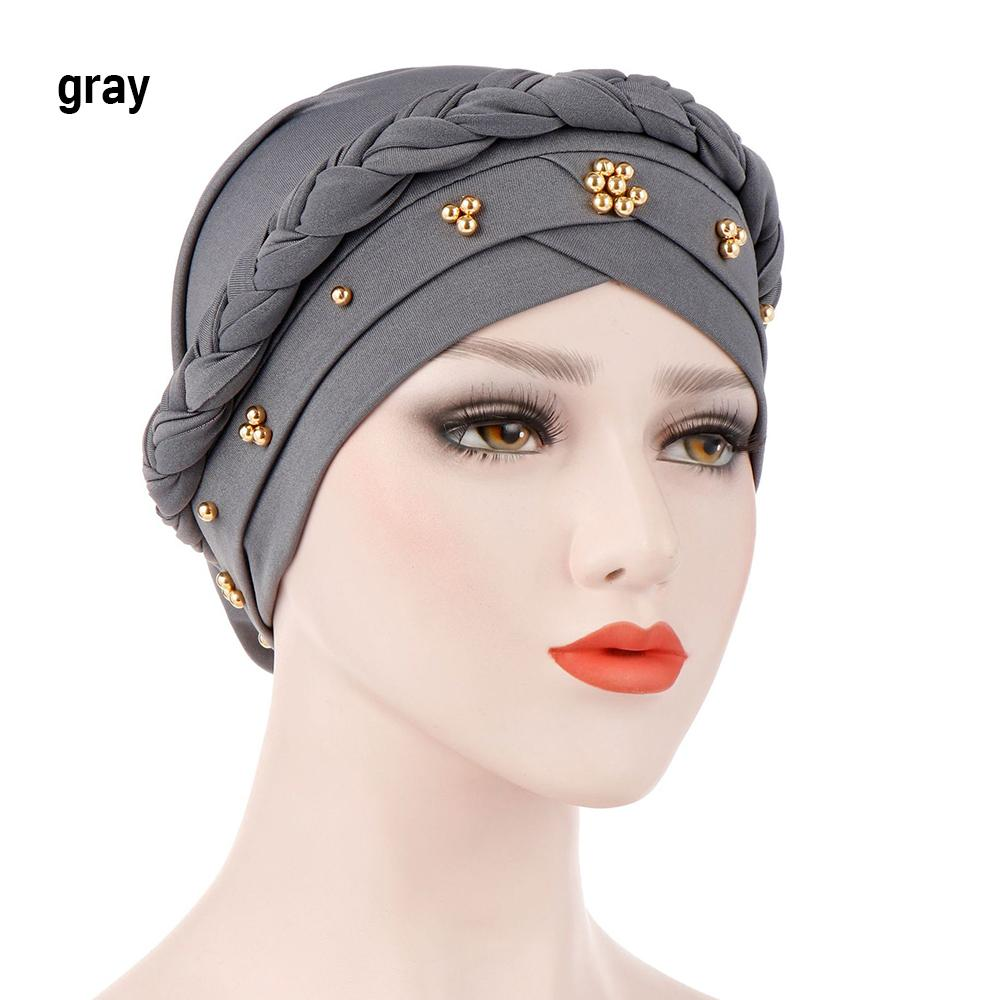 Milk Silk Muslim Hijab For Women Beads Braid Wrap Stretch Turban Hat ... 4aed36a93c