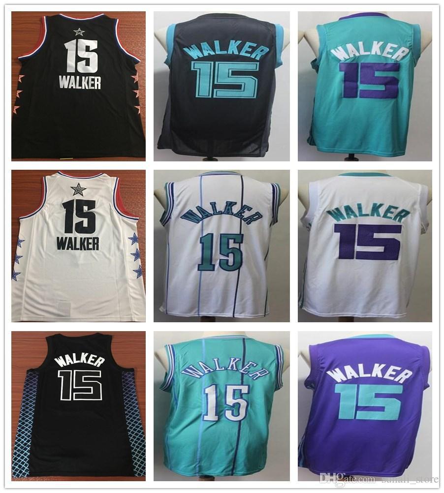 reputable site c7cc1 9e9af Stitched Kemba Walker Jersey 2019 New Style Black White Green Purple Cheap  Men Basketball Kemba 15 Walker Jerseys College Shirts