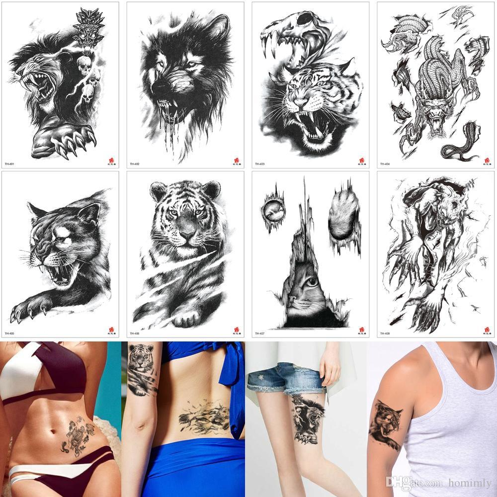 Best Professional Fake Black Animal Tattoo Sticker Wolf Tiger Rabbit Dragon  Waterproof Temporary Tattoo Transger Paper Designs for Women Men
