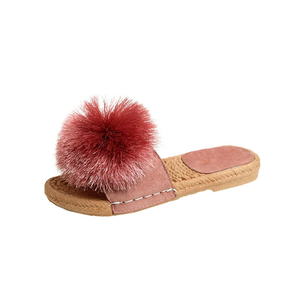 82cf5d97992ae 2019 Summer Women S Slipper Cute Casual Ladies Slipper Tassel Ball Mujer Flat  Shoes Fashion Female Flip Flops New Hot Sale Fringe Boots Girls Shoes From  ...