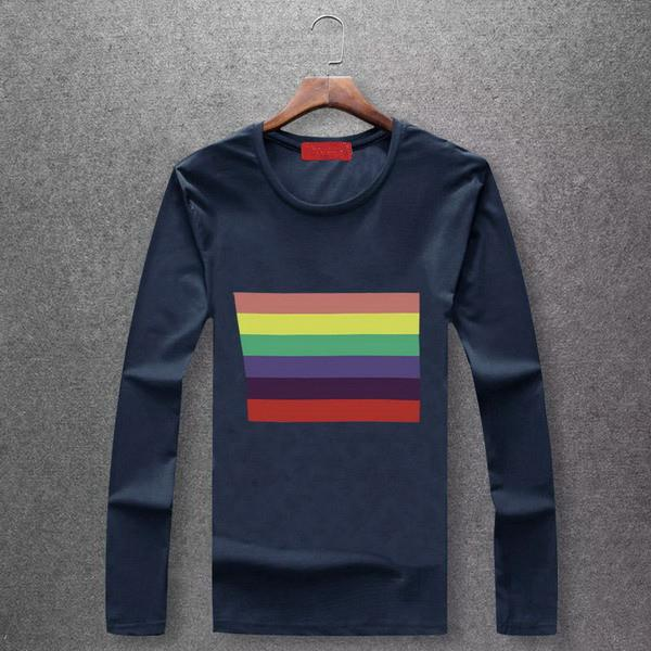 Super Regenbogen M-6XL Mens Fashion Langarm Shirt Bears Hochwertige Shirts Herbst Frühling Herbst Winter Top T-Shirts EAR19923 B100203V