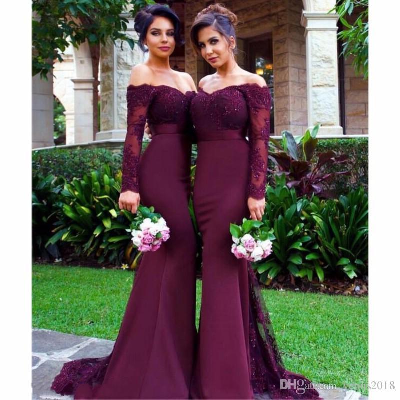345e88729f1 Sexy Burgundy Bridesmaid Dresses Long Mermaid Applique Crystal 2019 Cheap  Maid Of Honor Dresses For Weddings Plus Size Blue Bridesmaid Dresses Dresses  For ...