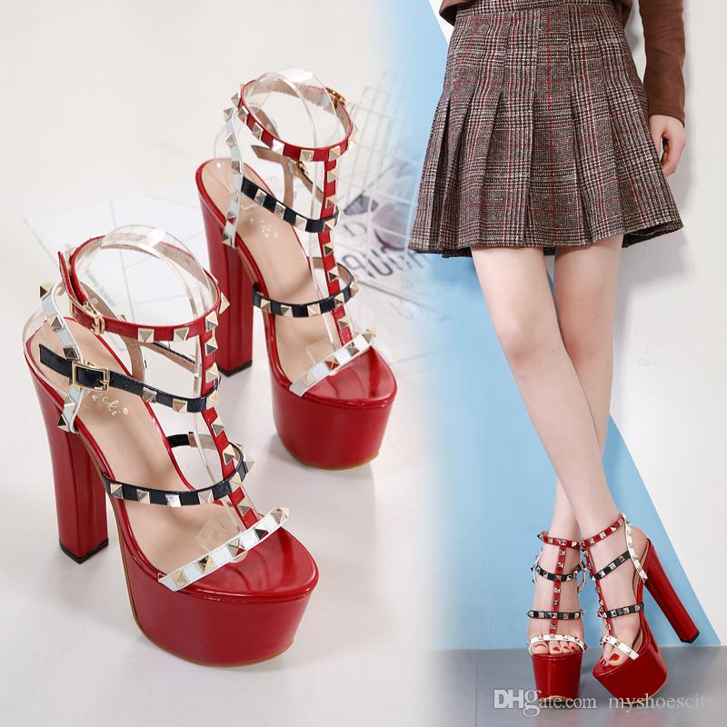 16cm sexy party shoes rivets bucke strappy ultra high heels sandals fashion luxury designer women shoes size 35 to 40