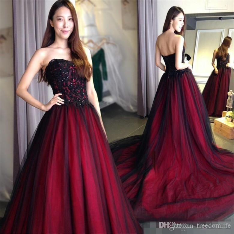 New Red And Black Evening Dresses A Line Organza Applique Beaded
