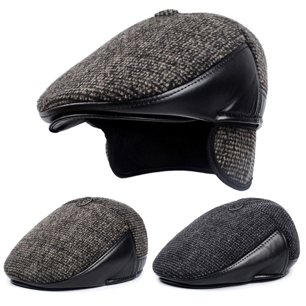 3b3a6e48c31 New men warm winter hats with ear flap retro thick wool beret jpg 1050x1050 Leather  hats