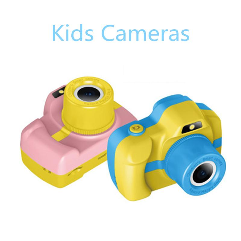 2019 New Kids Camera Mini Digital Camera 1080P Puzzle Games Toddler Toys Cute Cartoon Cam Children Birthday Gift for Boys Girls
