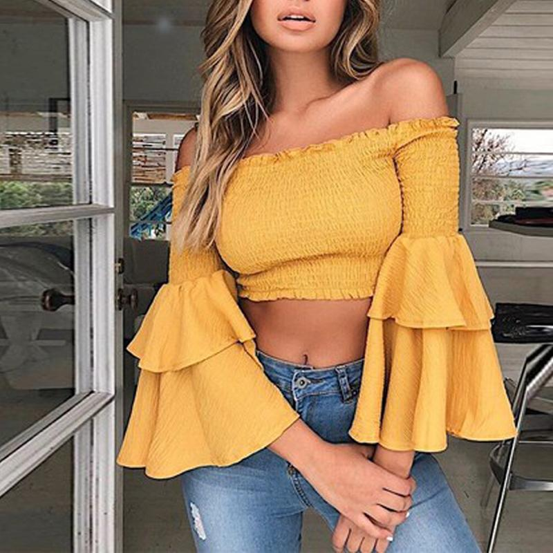 2019 hot fashion summer elastic trumpet sleeve short paragraph Slash Neck T-shirt