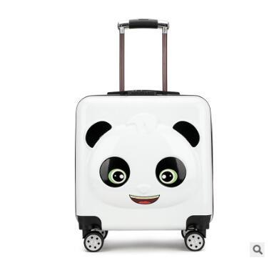 61f3c544fa65 Panda Kid Travel luggage suitcase Trolley bags on wheels Kid wheeled carry  on baggage Spinner Children Rolling suitcase for Boy