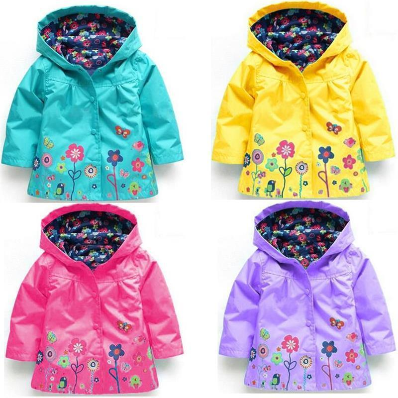 3555dd83e 2019 Spring Summer Jacket For Girls Printed Flower Waterproof Hoody Baby  Girls Jacket 1 5 Years Kids Outerwear Children Coat Rain Jackets For Boys  Boys ...
