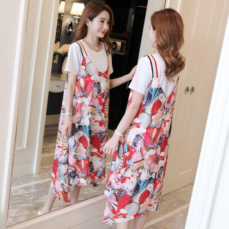 d0f31493607 2019 Maternity Dresses Round Neck Printed Chiffon Pregnancy Dress + ...