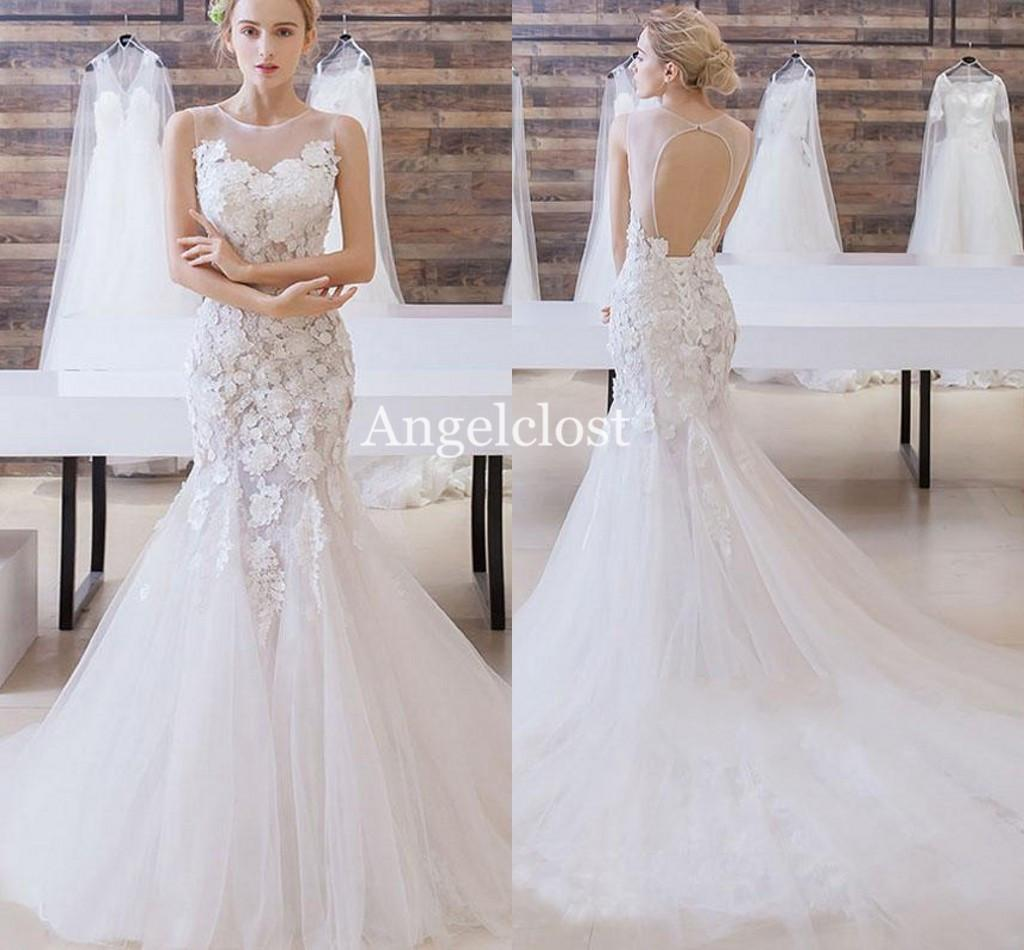 Elegant Mermaid Wedding Dresses 2019 Jewel Backless Sweep Train Lace Appliques Beaded Modern Garden Bridal Gowns Vestido De Novia Customized
