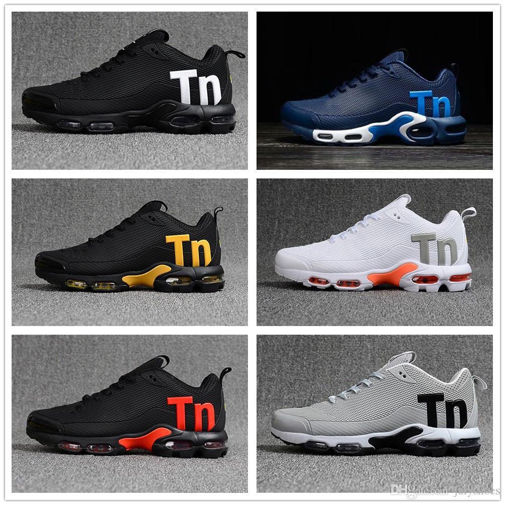 5389ec6d880d Acheter Nike TN Plus Air Max Airmax 2019 Pas Cher Hommes Mercurial Plus Tn  Ultra SE Noir Blanc Orange Desinger Chaussures De Course Femmes MenTrainers  ...