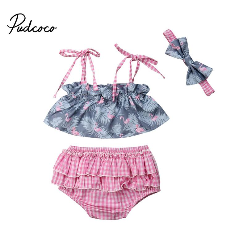 a6cbc8e682 2019 Toddler Girls Flower Strap Summer Clothes Sunsuit Kids Baby Girl  Flamingo Vest Crop Top Short Pants Romper Outfit Clothes From Fragranter,  ...