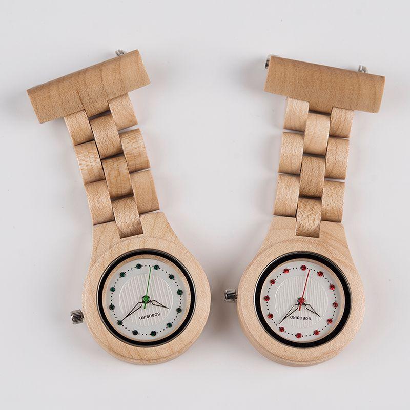 7258d880b Light Weight BOBO BIRD Fob Brooch Nurse Pocket Women Watches Quartz  Imitation Diamond Watch Ladies Clock Custom Logo With Wood Case Vintage  Watches ...