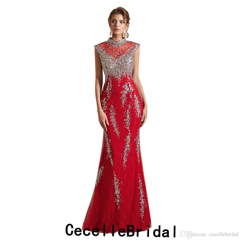 0afbb510fbe 2019 New Red Mermaid Long Women Evening Dress 2019 High Neck Luxury Beading  Crystals Women Formal Elegant Evening Prom Party Gowns Evening Dress Sale  ...