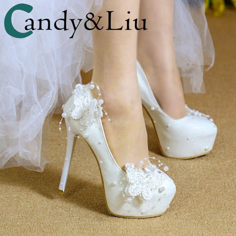 Wedding Pumps For Women White Lace Butterfly Beading Pearls Dress Shoes  Bridesmaids Elegant 2cm 6cm 8cm 11cm 14cm Girls Heels Formal Shoes For Men  Formal ... cdf5d03b450d
