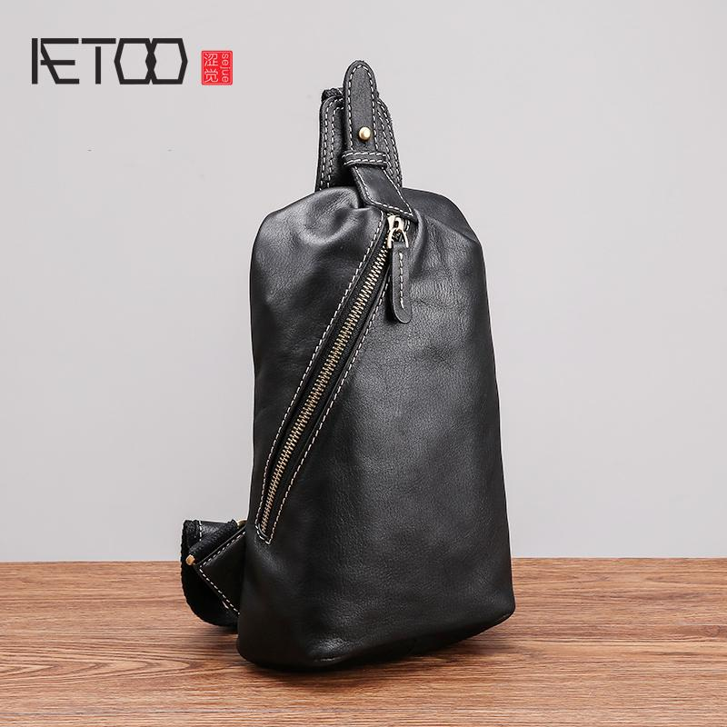 AETOO Chest bag male leather soft leather new single shoulder bag tide casual head layer cowhide men's chest