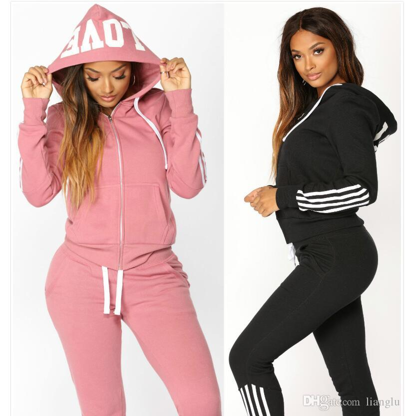 75eb8b1e8e658 2019 Hot Sell 2019 Women Sport Tracksuit Hoodies + Pants Woman Set Outfit  Solid Color Womens Sweat Suits Sweatsuits From Lianglu