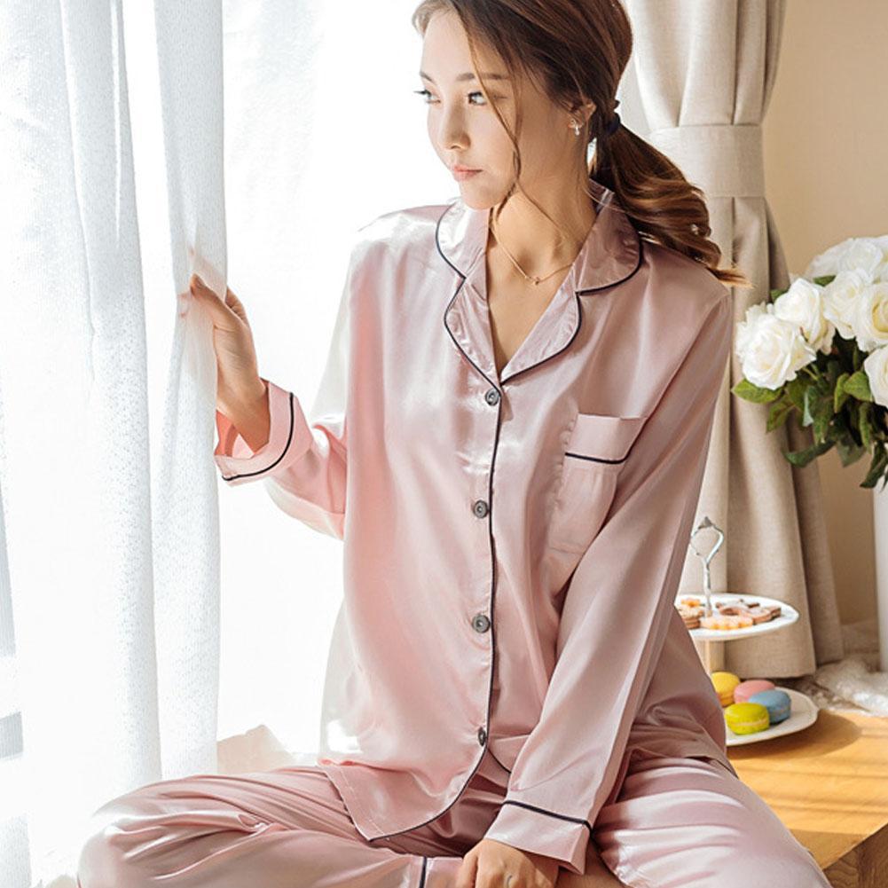9b2747ee59c4e6 Mulheres de Cetim De Seda Pijamas Set 2 pcs Senhoras Camisa de Manga Longa  Tops Calças Compridas Set Roupas Sleepwear Outono