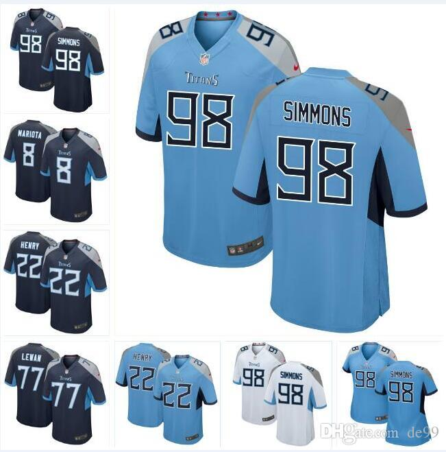 official photos 1b6ba 67fab #98 Jeffery Simmons Titans Jersey Marcus Mariota Taylor Lewan Kevin Byard  Aj Brown Kevin Byard custom american football jerseys Apparel
