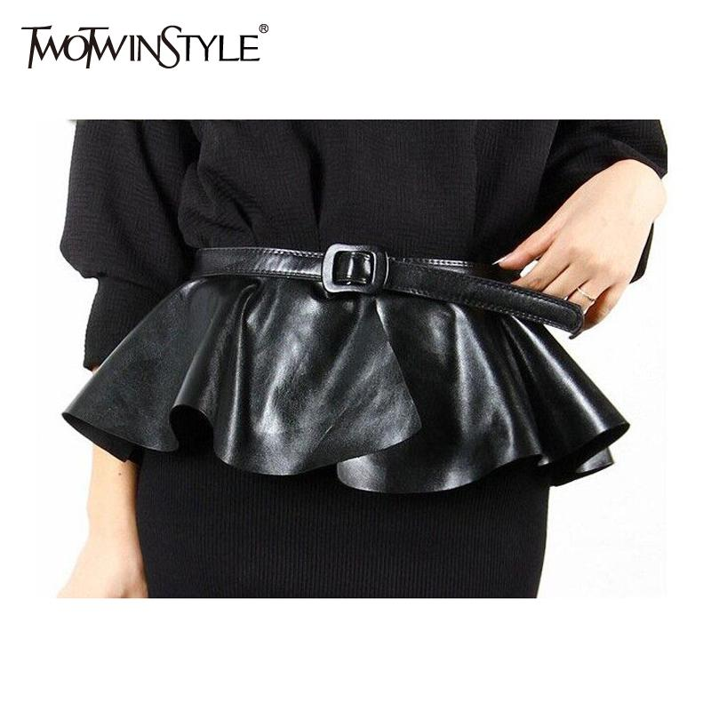 Ruffle Female Belt For Women PU Leather Corset Harness Belts Dresses Costumes Black Color Korean Fashion Accessory