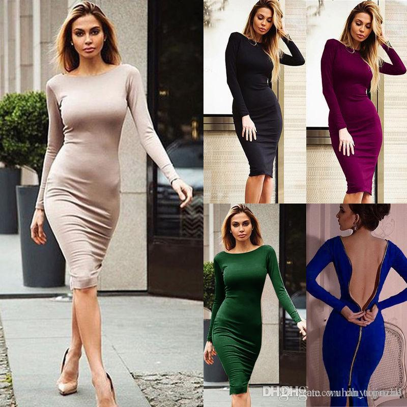 5c9995108532 Women Sexy Bandage Bodycon Summer Evening Cocktail Party Long Sleeve Midi  Dress S XL CL108 Short Evening Dresses Short Party Dresses From Dh topmall