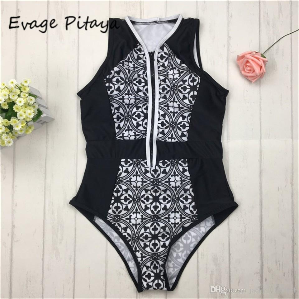 be2963a637c2b 2019 2018 Sexy Women One Piece Swimsuit Vintage Print Zipper Front Swimwear  Bathing Suit Beach Wear Monokini Black From Jacky20160804, $20.34    DHgate.Com