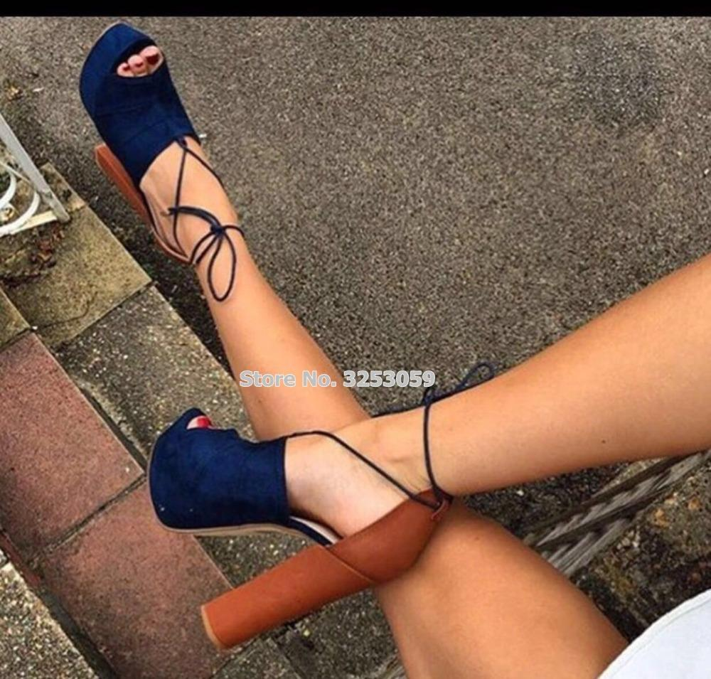 wholesale Top Brand Hot Selling Women Thick High Heels Sandals Lace-up Blue Suede Open Toe Platform Dress Shoes Banquet Pumps