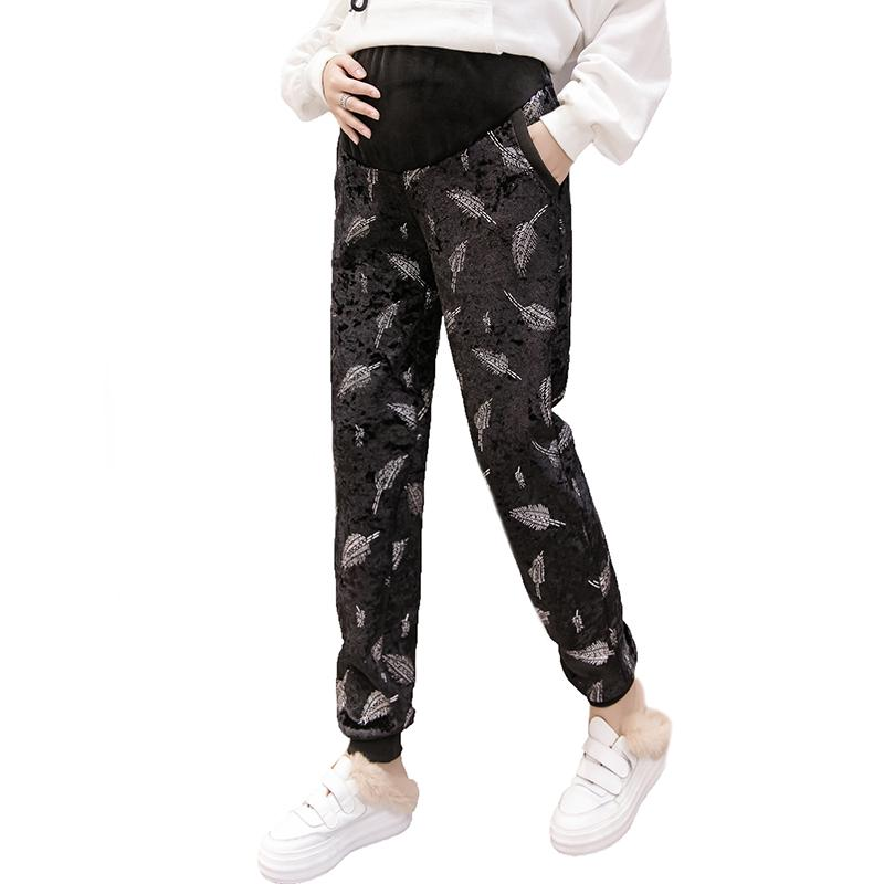 2b1472a6cb081 2019 Pregnancy Pants Winter High Waist Maternity Trousers Pregnant Women  Loose Harem Pants Thick Velvet Printed Trousers Keep Warm From Friendhi, ...
