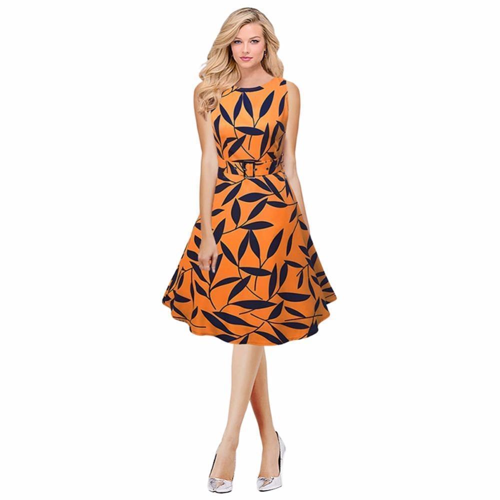de641492aa1 2019 Women Leaf Print 50s 60s Sleeveless Retro Dress Vintage Rockabilly  Party Swing Dress Black Yellow Elegant A Line Dress Red Party Dresses For  Teenagers ...