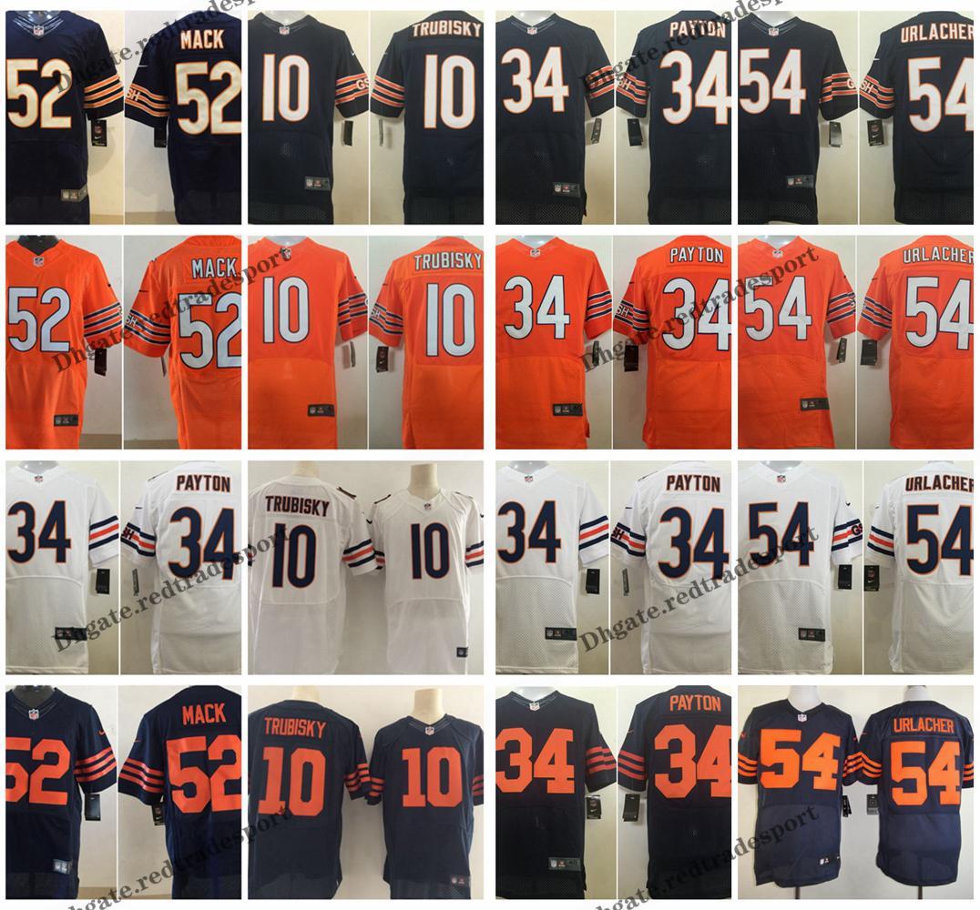 the latest 448bf 8d036 Elite Chicago 4XL Bears 10 Mitchell Trubisky Football Jerseys 52 Khalil  Mack 34 Walter Payton 54 Brian Urlacher Stitched Shirt M-4XL