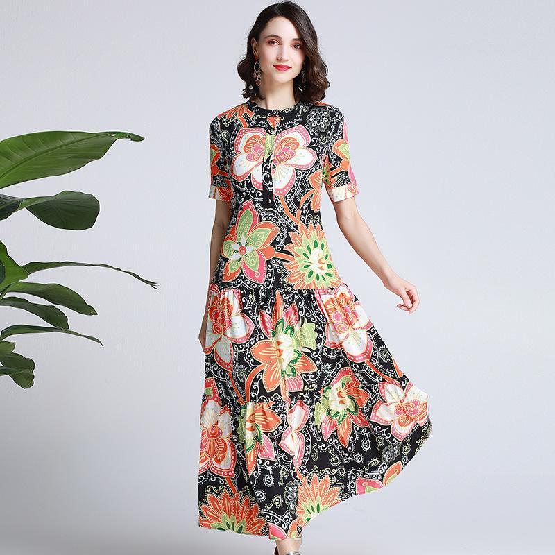 19ef9802f Compre 2019 Verano Nuevas Mujeres Cuello Redondo Manga Corta Exquisito  Impreso Delgado Costura Gran Swing Vestido Largo Falda A  72.53 Del Hot1022