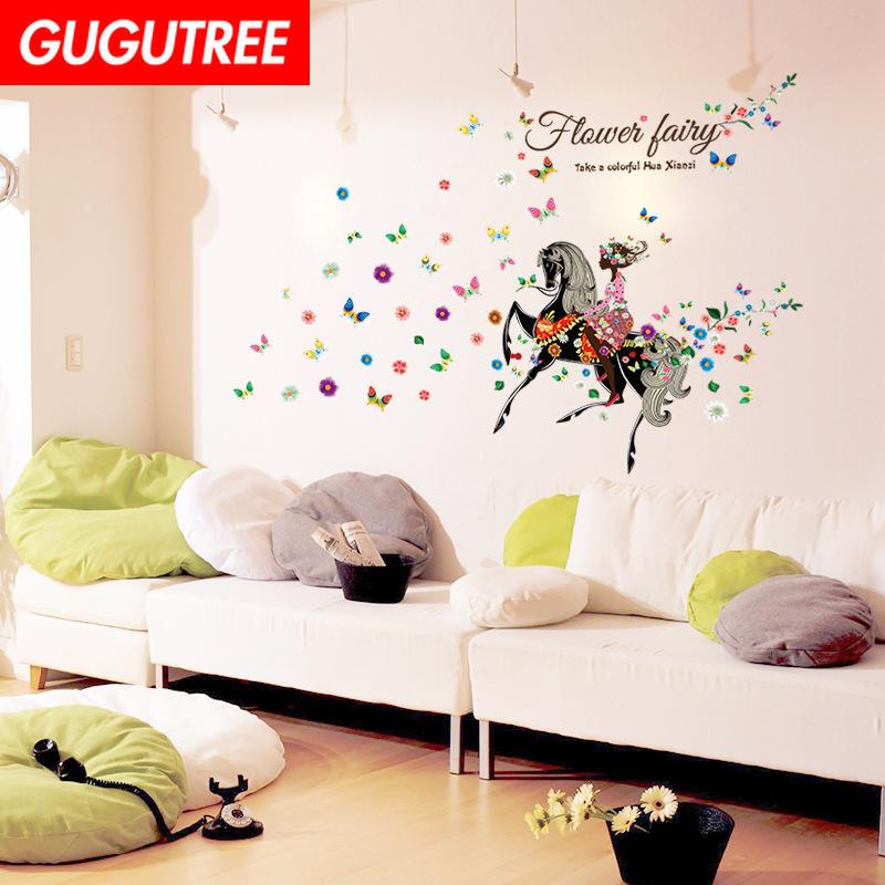 Decorate Home girl horse buttlefly cartoon art wall sticker decoration Decals mural painting Removable Decor Wallpaper G-2366
