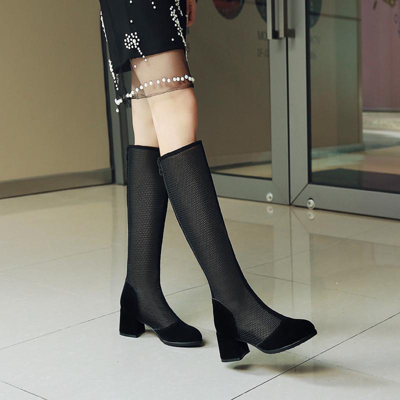 849e686cdb281e Acheter Plus La Taille 34 43 2019 Dames Bottes D'été Genou Bottes Hautes  Épais Talons Hauts Bout Rond Femmes Genou Dentelle Sexy Chaussures Femmes  De $49.78 ...