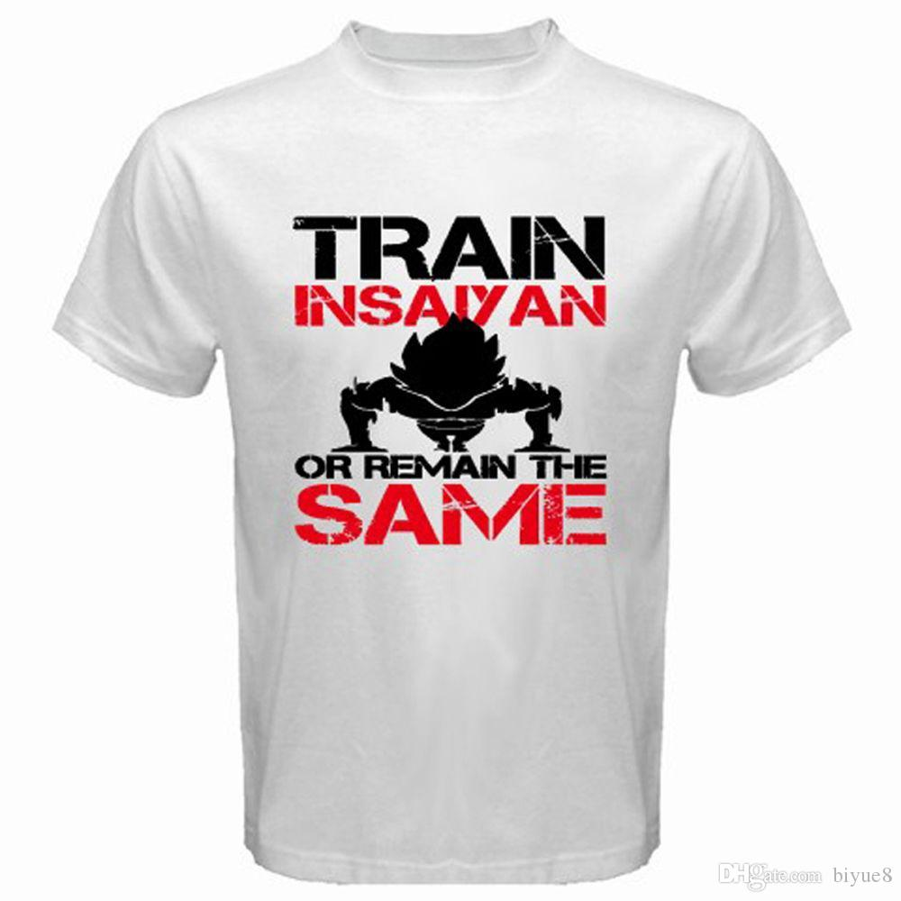 New Train Insaiyan Gym o Remain The Same T-Shirt bianca da uomo taglia S a 3XL 2018 T-shirt a maniche corte in cotone Uomo Abbigliamento