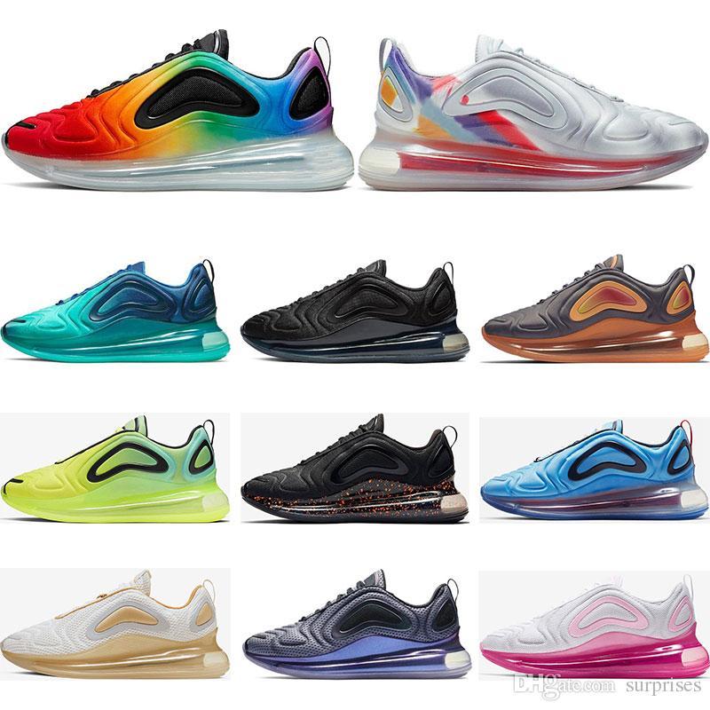 taille 40 ab161 43d3e Nike air max 720 Nouvelle arrivée 720 chaussures de course pour hommes  femmes Metallic Silver triple black CARBON GREY SUNSET baskets respirantes  ...