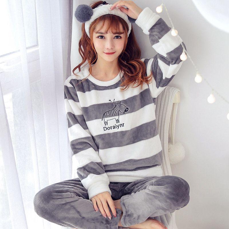 125e999a6a5 Pajama Set Nightwear Pijama Home Suit Women Warm Pyjama Cat Long ...
