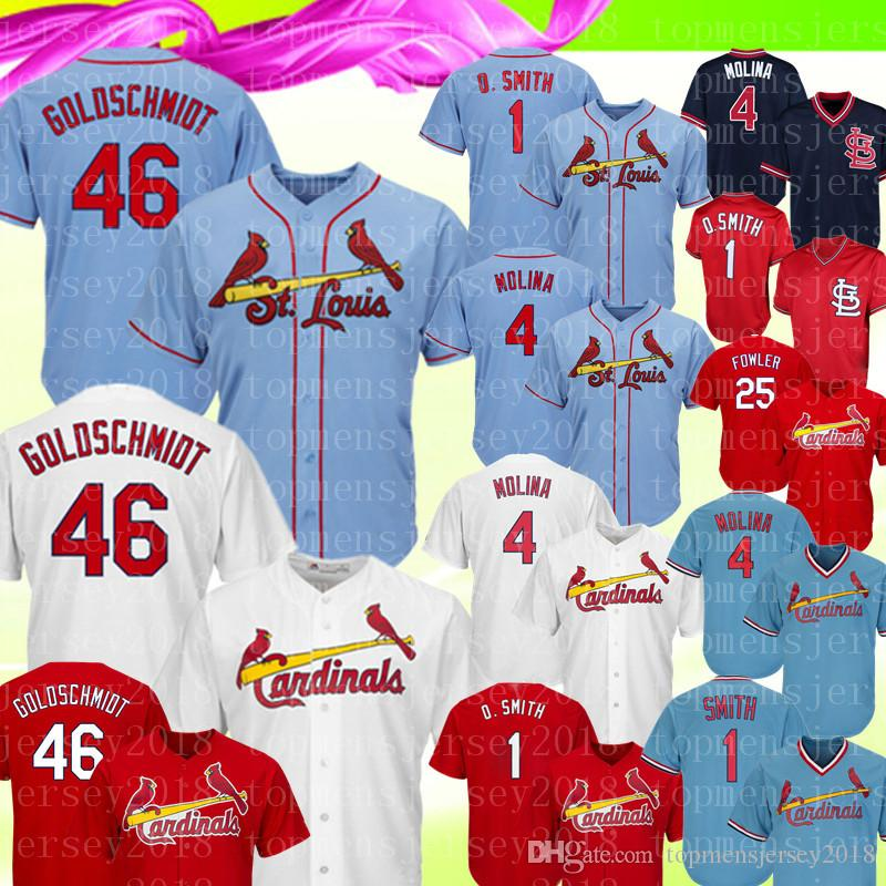 quality design 18374 ed7cf St. Louis 46 Paul Goldschmidt Cardinals Jersey 4 Yadier Molina 1 Ozzie  Smith 25 Fowler Embroidery Baseball Jerseys