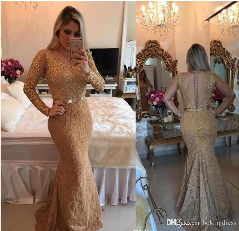 2.020 Ouro Illusion Sheer mangas compridas Mermaid Dresses Prom frisada completa Lace Applique Vestido de luxo Custom Made vestidos de festa formal