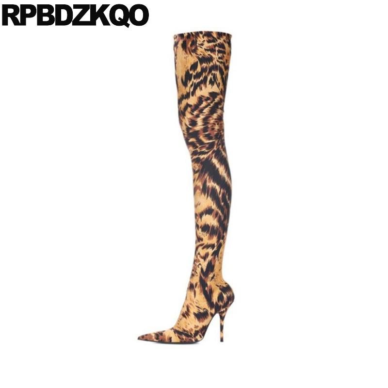 cheetah dance pointed toe thigh high boots for plus size women stiletto fetish stretch heel over the knee crotch shoes big slim