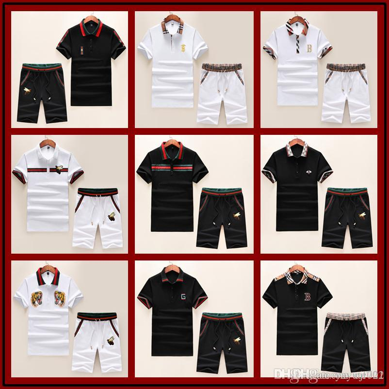 fashion Luxury Summer 2 Pcs/Sets Tracksuit Summer Short Sleeve T-shirt For men Spring And Shorts Suits Casual