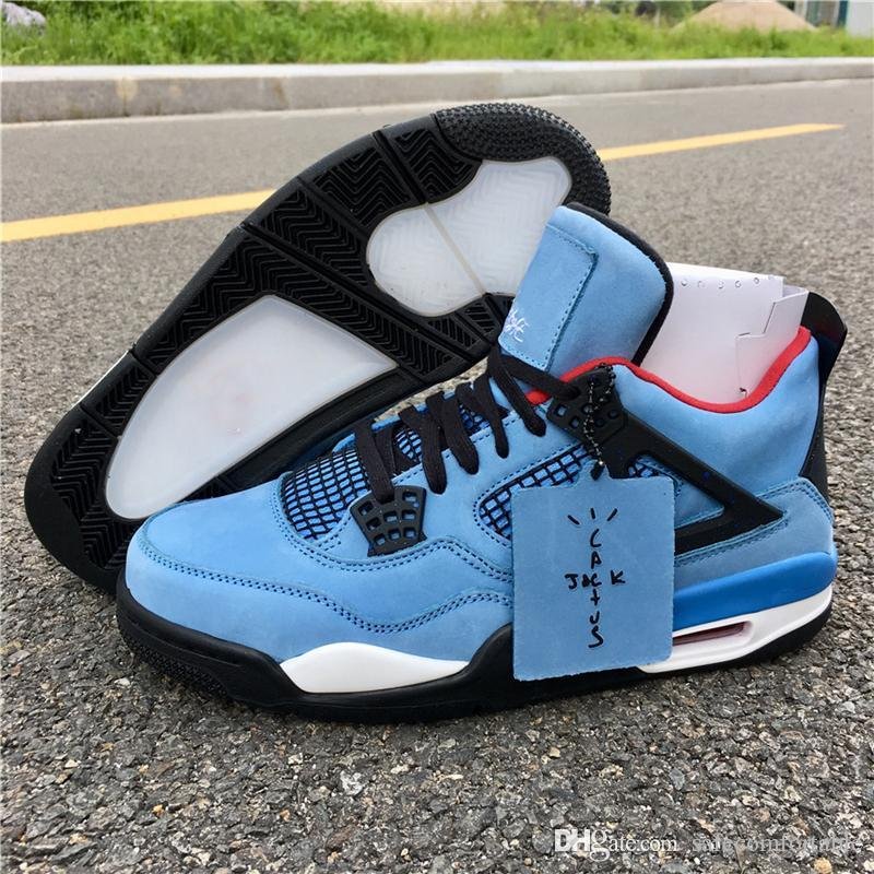 new product 20131 8f70a 2019 Authentic Travis Scott x 4s Houston Oilers 308497-406 4 IV Blue Men  Basketball Shoes Sports Sneakers Outdoor With Original Box