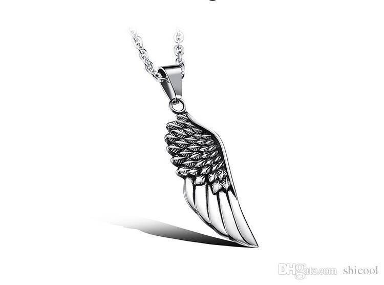 bc06465c3950 Compre Collar Colgante De Alas De Ángel Ala De Águila De Plumas De Acero  Inoxidable Para Hombre Para Mujer Diseñador De Collares Joyería De Hip Hop A   3.47 ...