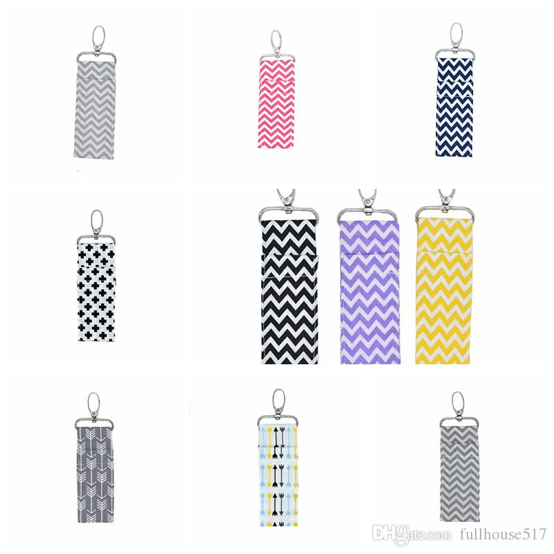 lipstick chapstick holder Chapstick Key Chain Holder keychain Pouch Strap Key Ring Bag lip balm holder party favor Arrow Wave Pattern