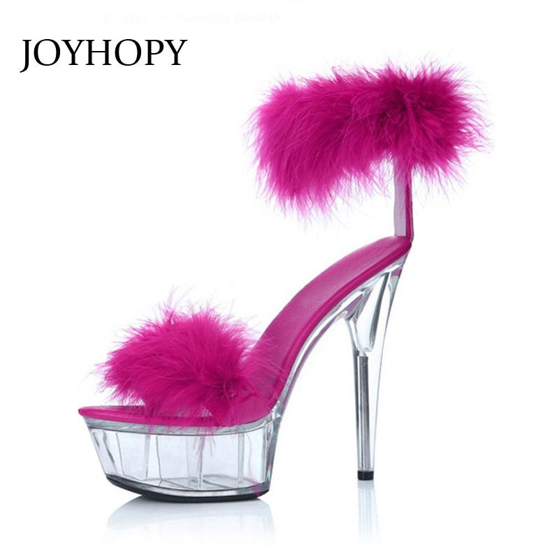 JOYHOPY Summer Fashion Women Rabbit's Hair Platform High Heels Woman Thin Heel Thick Sole Sandals Stage Shoes Big Size 34- 43