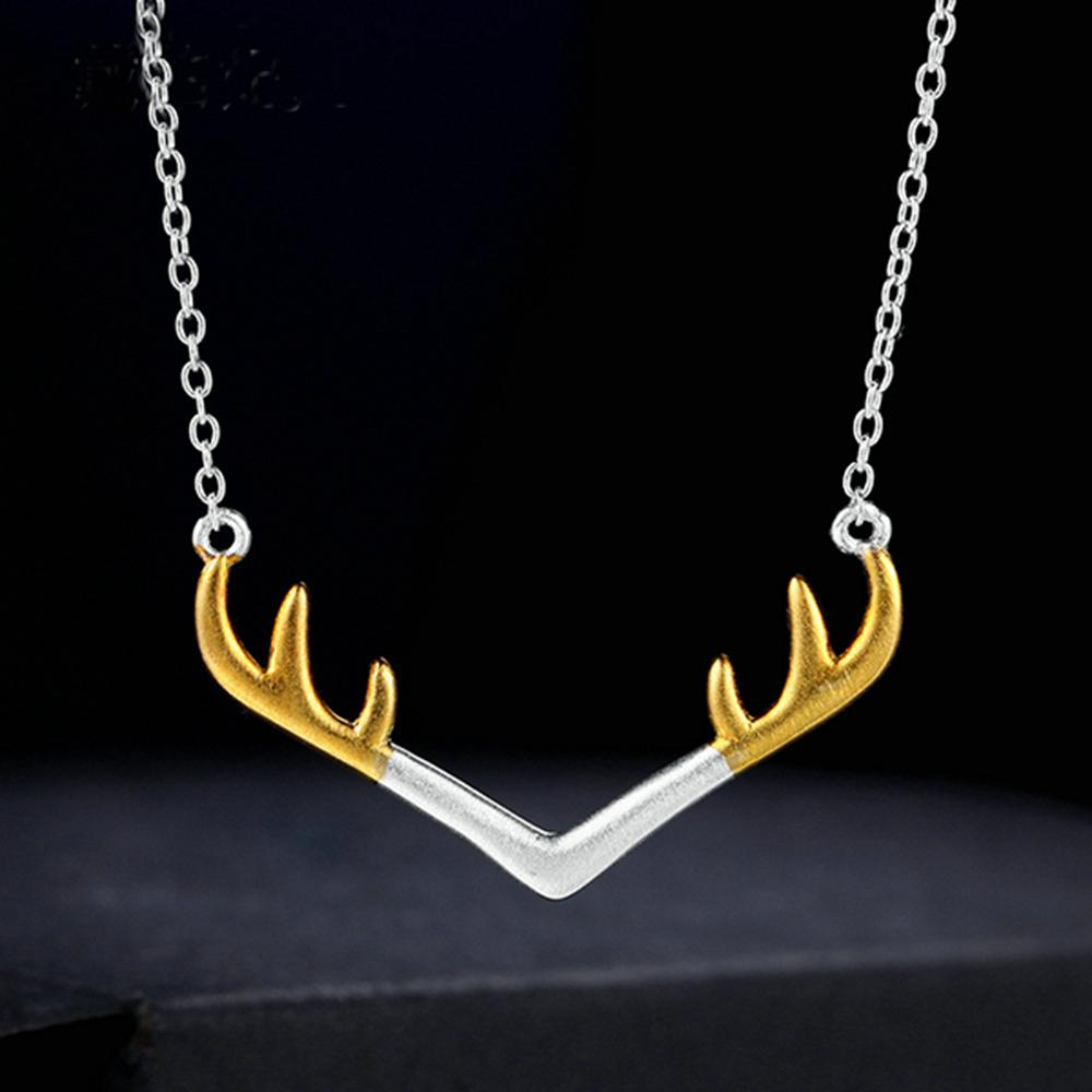 Dropshipping Xmas Jewelry Gift Deer Antler Women Necklace in Steling Silver  925 for Ebay/Amazon/Etsy Christmas Gift