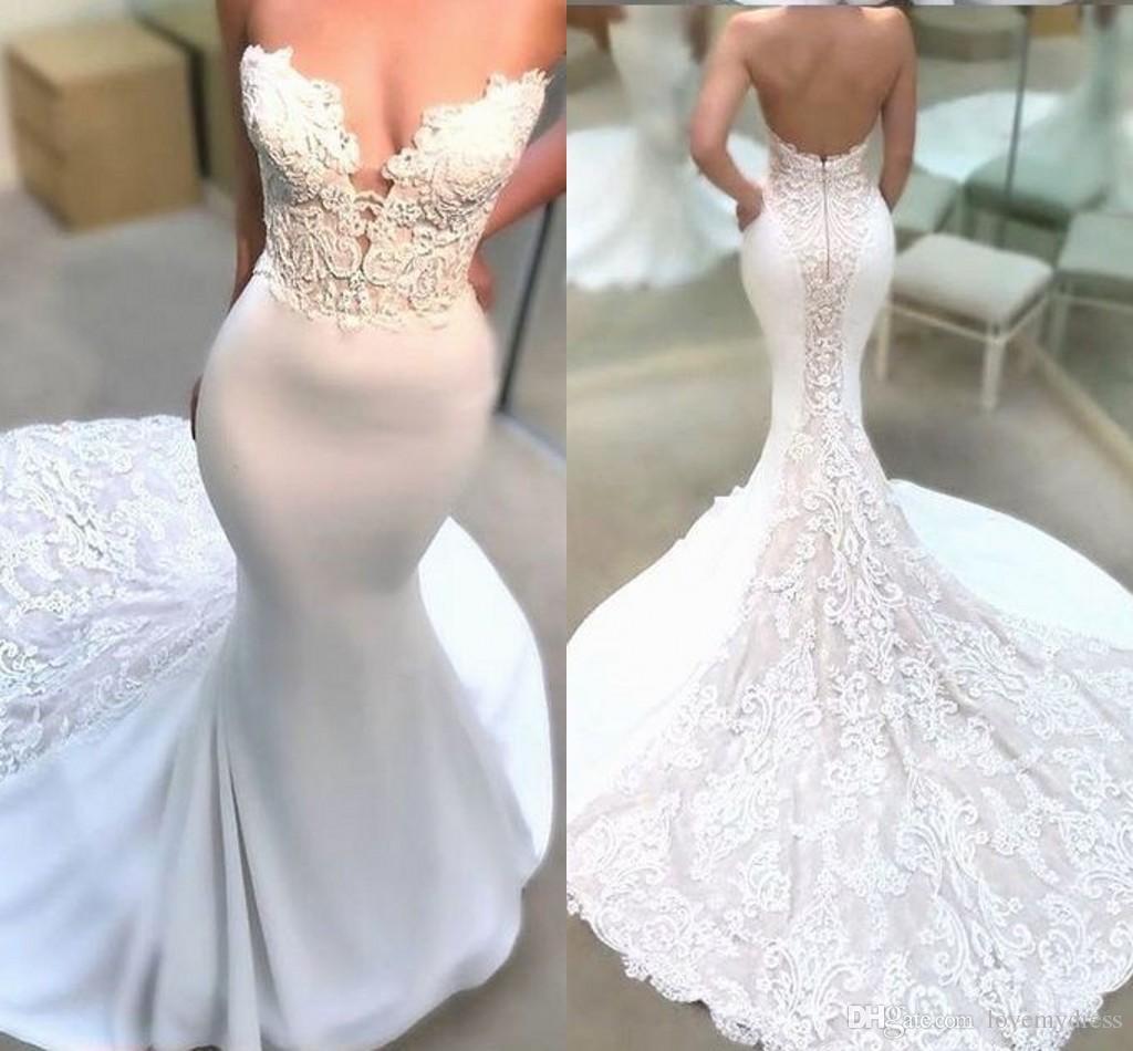 a5078a93d2 Amazon Mermaid Wedding Dresses Berta Strapless Nigerian Lace Beaded Open  Back Beach Wedding Dress Custom Made 2019 Cheap Long Sexy Lace Wedding Dress  ...