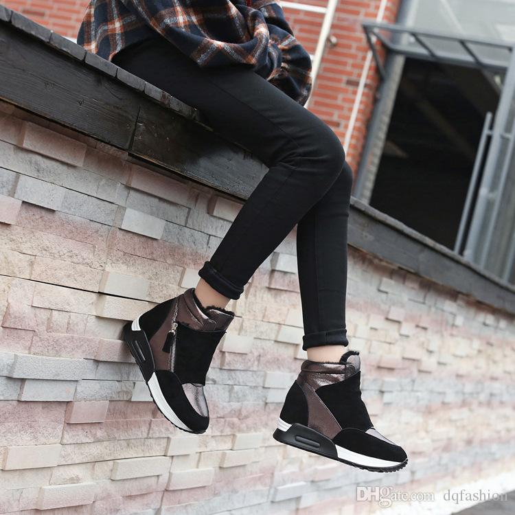 Suede Leather Boots Women Winter Shoes 2020 Fashion Ins Women Sneakers Height Increasing Shoes Warm Plush Snow Boots